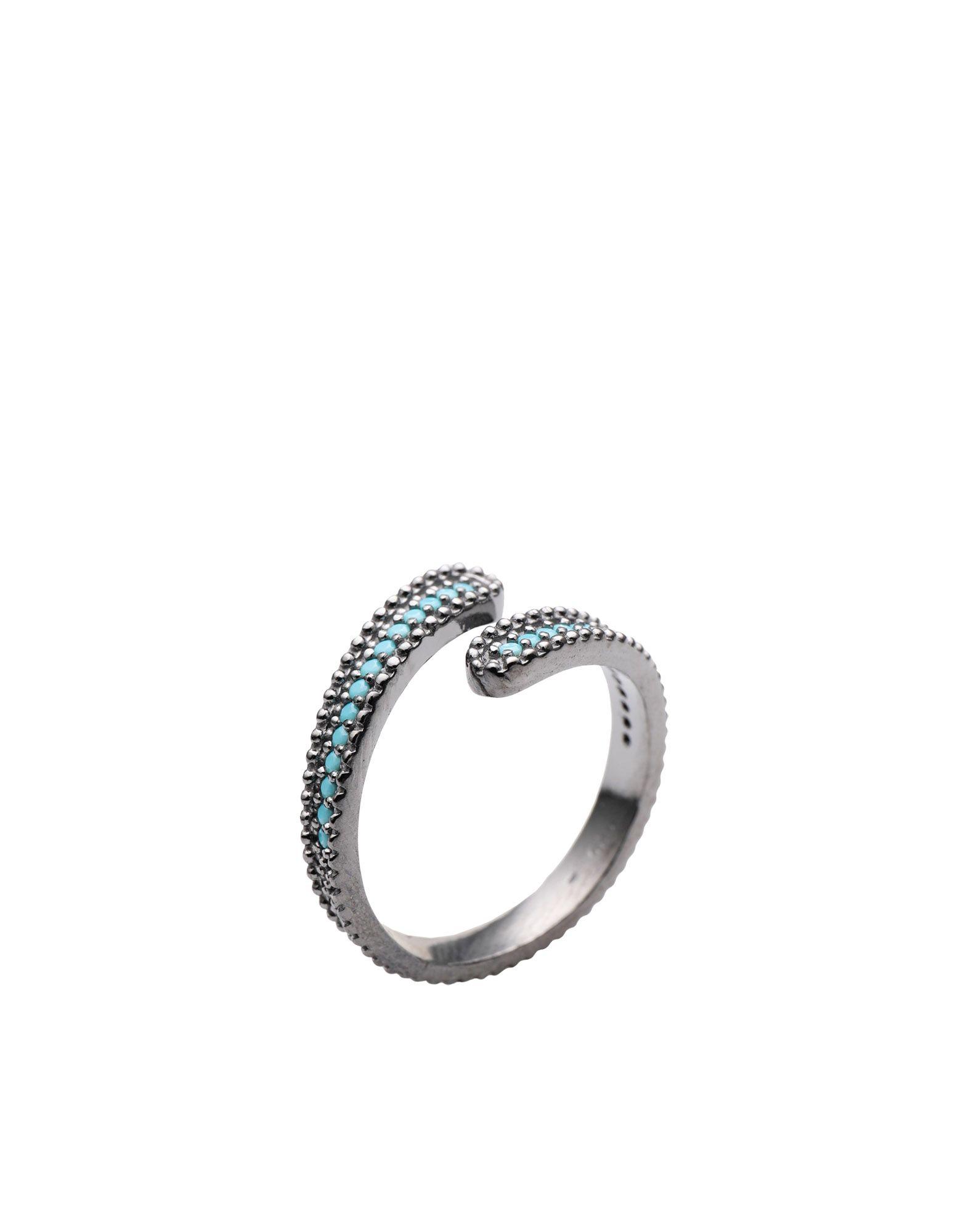 《セール開催中》FIRST PEOPLE FIRST レディース 指輪 鉛色 one size シルバー925/1000 / 18金メッキ / トルコ石 Concordia Zircon Ring