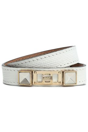 PROENZA SCHOULER Textured-leather, silver and gold-tone wrap bracelet