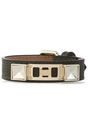 PROENZA SCHOULER Lizard-effect leather, silver and gold-tone bracelet