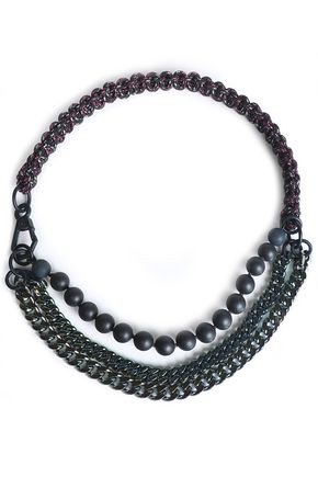 PROENZA SCHOULER Gunmetal-tone, cord and bead necklace