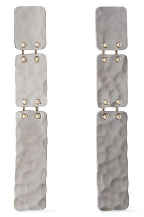 PROENZA SCHOULER Hammered silver and gold-tone clip earrings