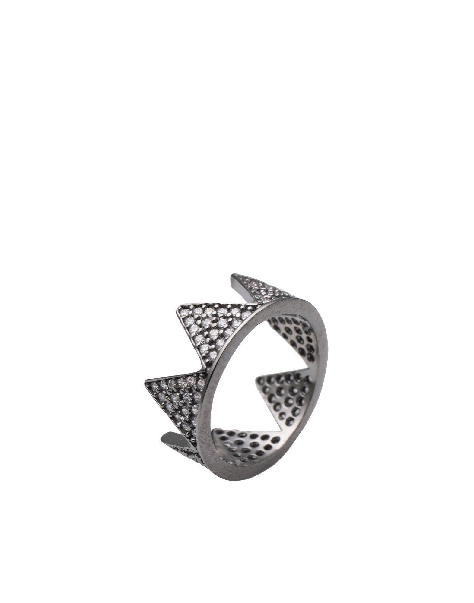 《セール開催中》FIRST PEOPLE FIRST レディース 指輪 鉛色 7 シルバー925/1000 / 18金メッキ / キュービックジルコニア Hestia Full Zircon Crown Ring