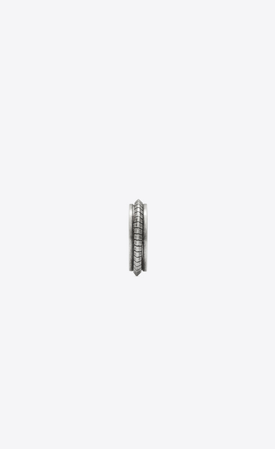 SAINT LAURENT Rings Man FOLK ring in oxidized silver-tone metal b_V4