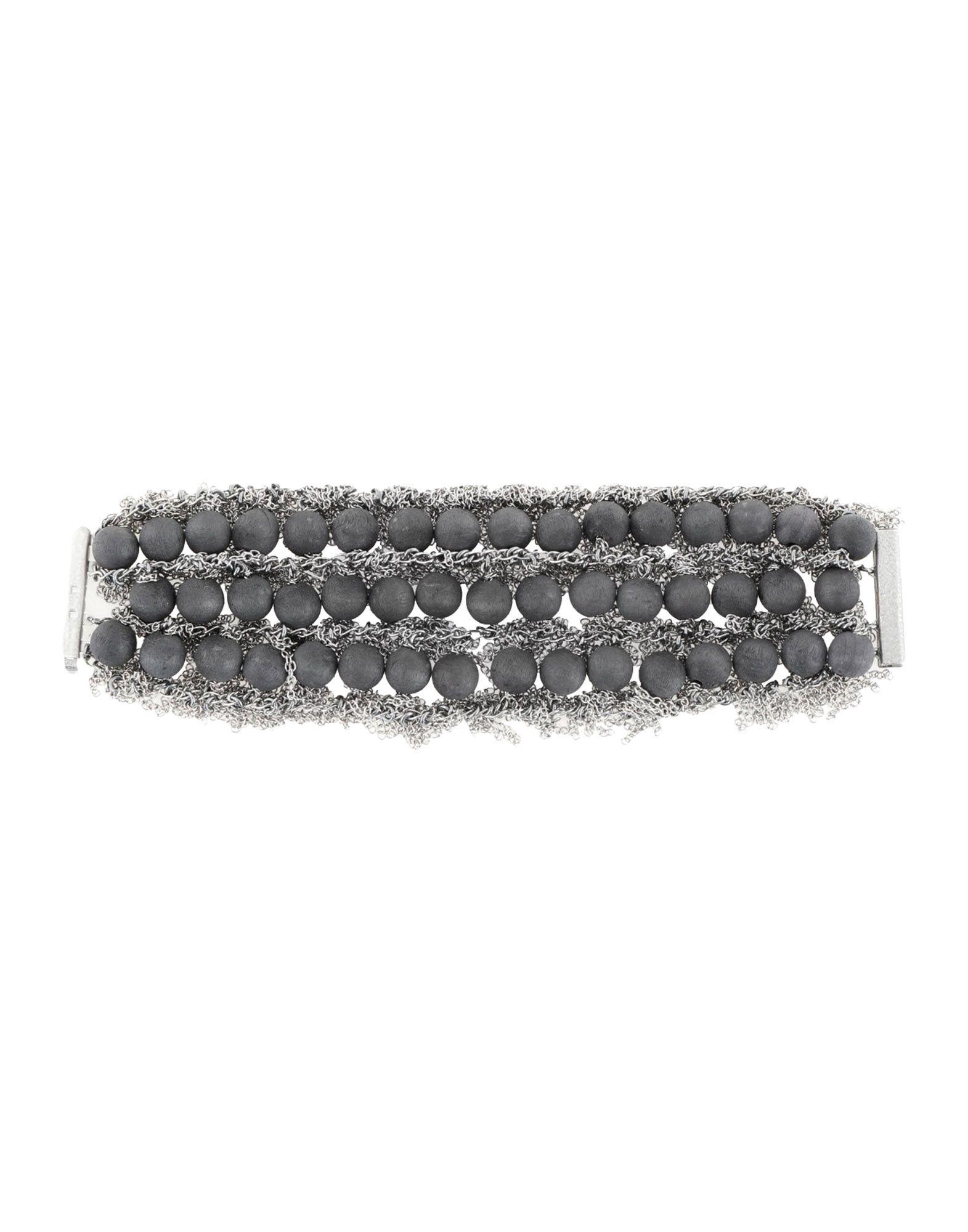 《セール開催中》JEAN FRANCOIS MIMILLA レディース ブレスレット ブラック S 金属 / 紡績繊維