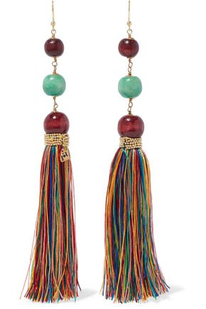 ROSANTICA Caipirinha tasseled, beaded, wood and gold-tone earrings