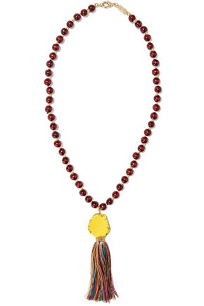 ROSANTICA Caipirinha tasseled, beaded, wood and gold-tone necklace