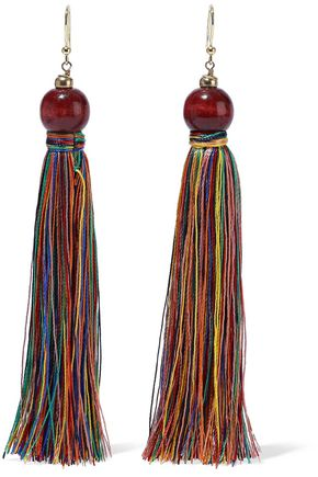 ROSANTICA Caipirinha gold-tone, bead and cord tassel earrings