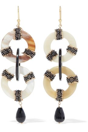 ROSANTICA Martini gold-tone, resin and bead earrings