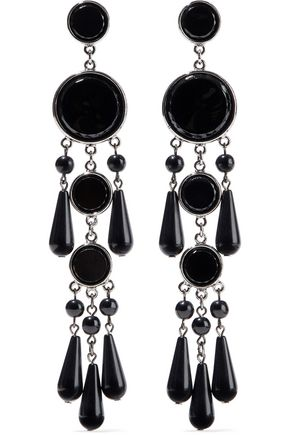 BEN-AMUN Silver-tone, bead and resin earrings