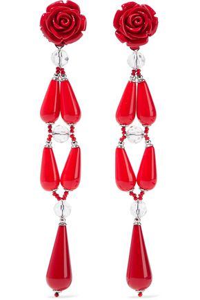 BEN-AMUN Resin, bead and silver-tone clip earrings