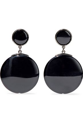 BEN-AMUN Gunmetal-tone resin earrings