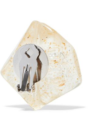 BEN-AMUN Resin silver-tone clip earrings