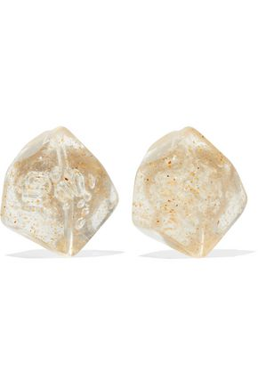 BEN-AMUN Resin silver-tone clip earrings