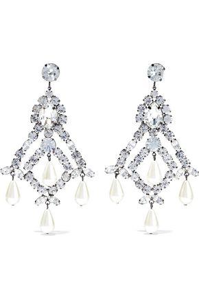 KENNETH JAY LANE Gunmetal-tone, faux pearl and crystal earrings