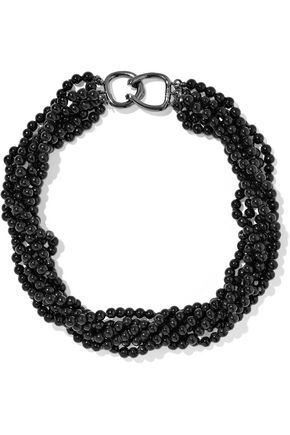 KENNETH JAY LANE Gunmetal-tone bead necklace