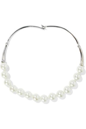 KENNETH JAY LANE Silver-tone faux pearl necklace