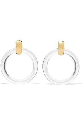 KENNETH JAY LANE Resin gold-tone clip earrings