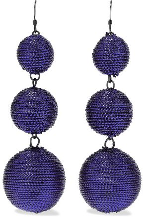 KENNETH JAY LANE Gunmetal-tone cord earrings