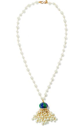 KENNETH JAY LANE Gold-tone, faux pearl, crystal and enamel necklace