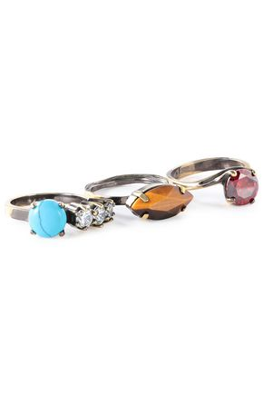 IOSSELLIANI Set of three burnished gold-tone, crystal and stone rings