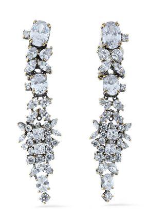 IOSSELLIANI Burnished gold-tone crystal earrings