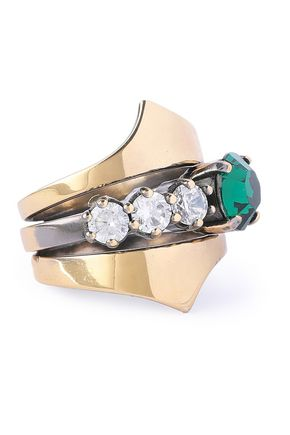 IOSSELLIANI Burnished gold-tone crystal ring