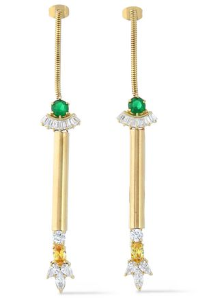 IOSSELLIANI Gold-tone crystal earrings