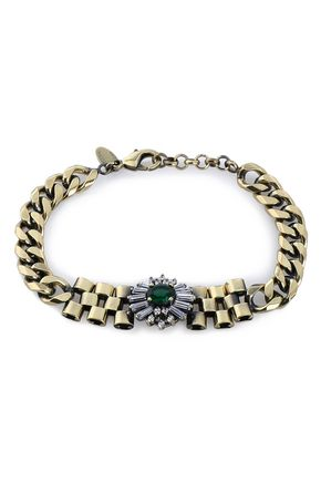 IOSSELLIANI Burnished gold-tone crystal bracelet