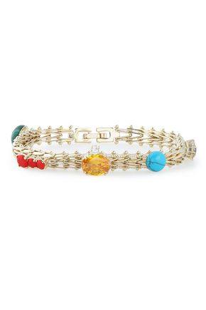 IOSSELLIANI Gold-tone, crystal and stone bracelet