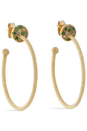 CAROLINA BUCCI 18-karat gold, diamond and sapphire hoop earrings