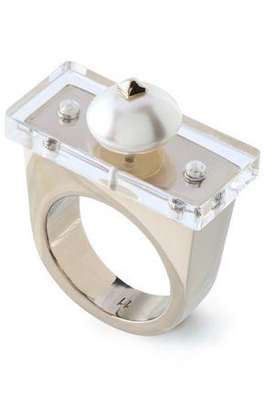 VALENTINO GARAVANI Gold-tone, faux pearl and perspex ring