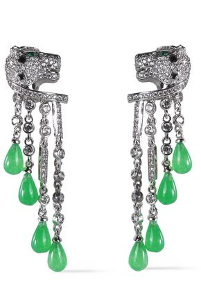 CZ by KENNETH JAY LANE Silver-tone, resin and crystal earrings