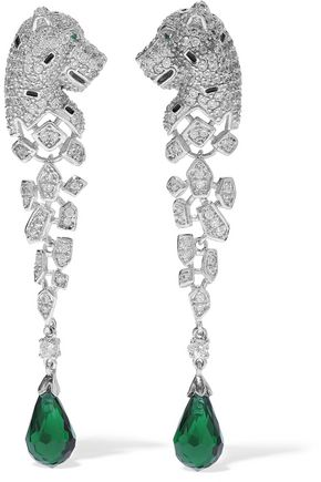 CZ by KENNETH JAY LANE Silver-tone, crystal and bead earrings