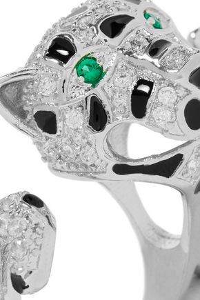 CZ by KENNETH JAY LANE Silver-tone, crystal and enamel two-finger ring