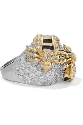 CZ by KENNETH JAY LANE Silver-tone, gold-tone, crystal and enamel ring