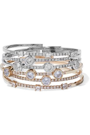 CZ by KENNETH JAY LANE Set of six gold and silver-tone crystal bangles