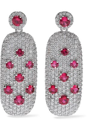 CZ by KENNETH JAY LANE Crystal silver-tone earrings