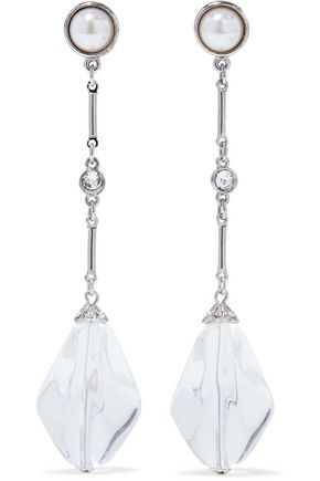 BEN-AMUN Silver-tone, faux pearl, crystal and bead earrings