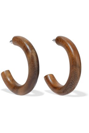 BEN-AMUN Wood silver-tone hoop earrings
