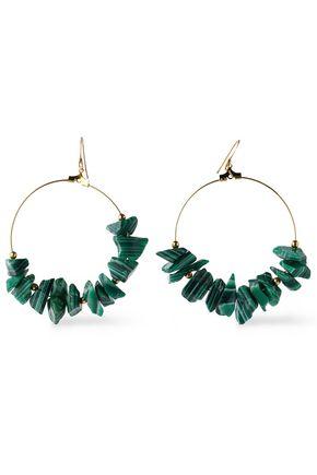 KENNETH JAY LANE Gold-tone stone hoop earrings