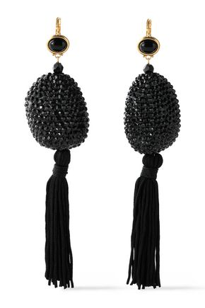 KENNETH JAY LANE Tasseled gold-tone, crystal and stone earrings