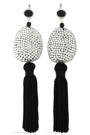 KENNETH JAY LANE Tasseled silver-tone, crystal and stone earrings