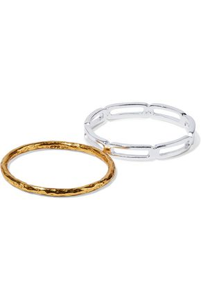 MAYA MAGAL  London Set of two hammered 18-karat gold-plated and sterling silver rings