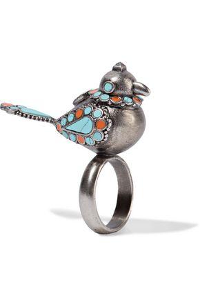 VALENTINO Burnished enameled silver-tone ring