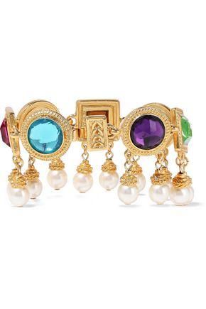 BEN-AMUN 24-karat gold-plated, crystal and faux pearl bracelet