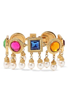 BEN-AMUN 24-karat gold-plated, crystal and faux pearl bracelet