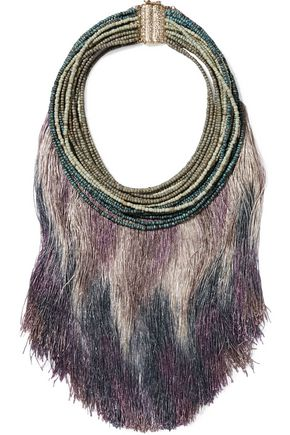 ROSANTICA Fringed gold-tone beaded stone necklace