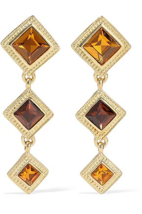 BEN-AMUN 24-karat gold-plated Swarovski crystal clip earrings