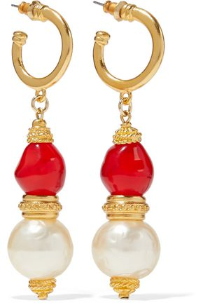 BEN-AMUN 24-karat gold-plated, stone and faux pearl earrings
