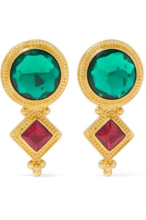 BEN-AMUN Gold-tone crystal clip earrings